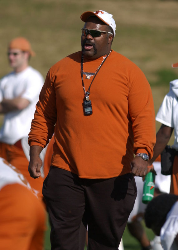 Coach Jeff Madden at Longhorn football practice