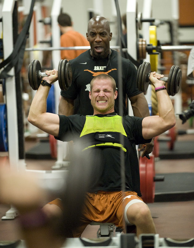 Bennie Wylie pushing athletes during weights
